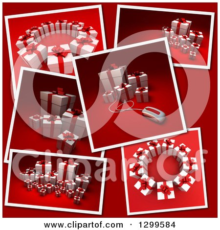 Clipart Of Snap Shots 3d Christmas Or Birthday Gifts On Red