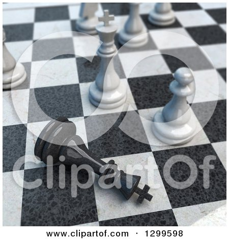 Clipart of a 3d Chess Game Check Mate - Royalty Free Illustration by Frank Boston
