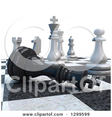 Clipart of a 3d Chess Game Check Mate on White - Royalty Free Illustration by Frank Boston