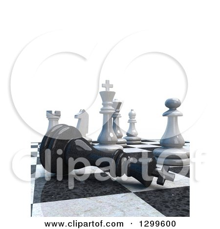 Clipart of a 3d Chess Game Check Mate with Text Space on White - Royalty Free Illustration by Frank Boston
