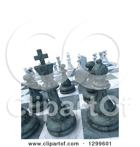 Clipart of a 3d Chess Game with a Pawn Down, with Text Space on White - Royalty Free Illustration by Frank Boston