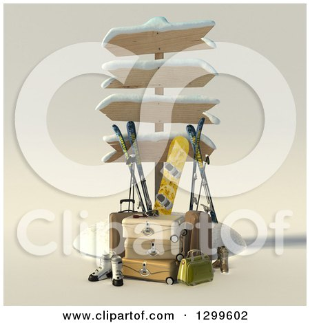 Clipart of a 3d Sign Post with Luggage and Winter Snowboarding and Skiing Gear - Royalty Free Illustration by Frank Boston