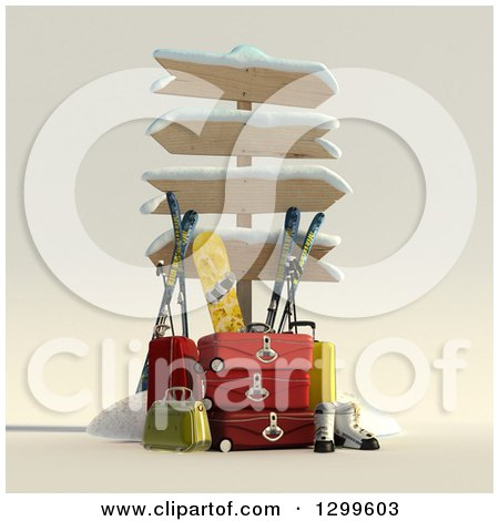 Clipart of a 3d Sign Post with Luggage and Winter Snowboarding and Skiing Gear 2 - Royalty Free Illustration by Frank Boston