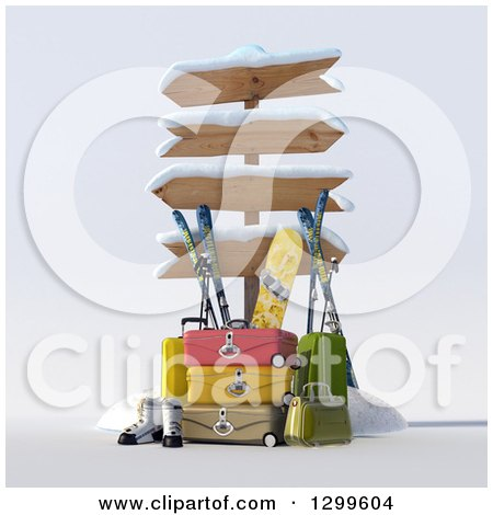 Clipart of a 3d Sign Post with Luggage and Winter Snowboarding and Skiing Gear 3 - Royalty Free Illustration by Frank Boston