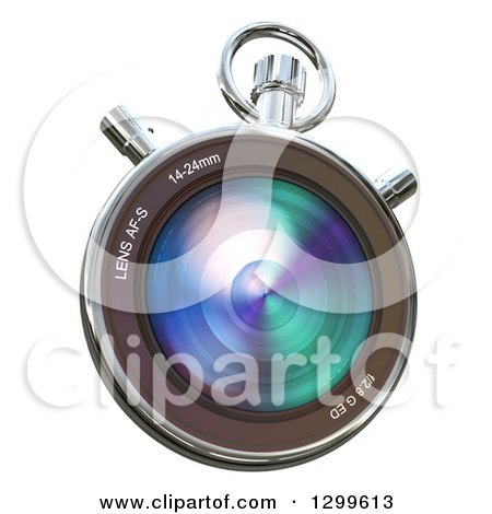 Clipart of a 3d Camera Lens Chronometer on White - Royalty Free Illustration by Frank Boston