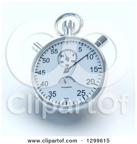 Clipart of a Ticking Silver Stop Watch with Shading on White - Royalty Free Illustration by Frank Boston