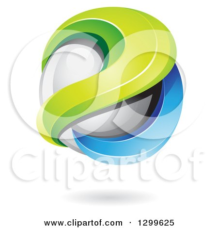 Clipart of a 3d Floating Sphere with Green and Blue Waves and a Shadow - Royalty Free Vector Illustration by cidepix