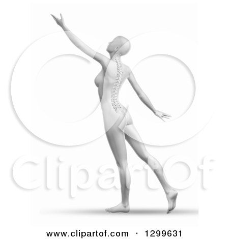 Clipart of a 3d Grayscale Anatomical Female Stretching, with Visible Spine, on White - Royalty Free Illustration by KJ Pargeter