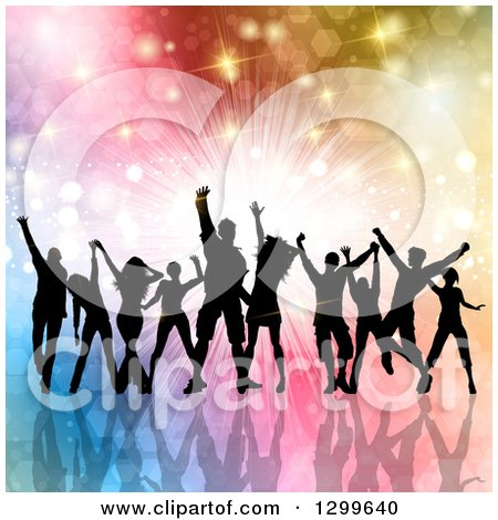 Clipart of a Silhouetted Dancing and Cheering Crowd over Colorful Bursts Flares and Lights - Royalty Free Vector Illustration by KJ Pargeter