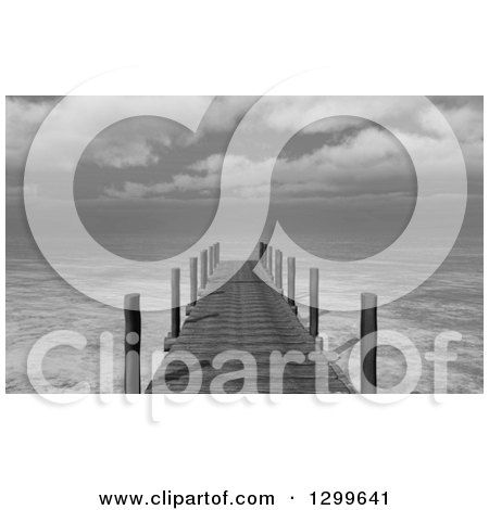 Clipart of a 3d Grayscale Jetty and the Ocean - Royalty Free Illustration by KJ Pargeter