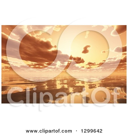 3d Dramatic Orange Sunset and Clouds Reflecting off of the Ocean Posters, Art Prints