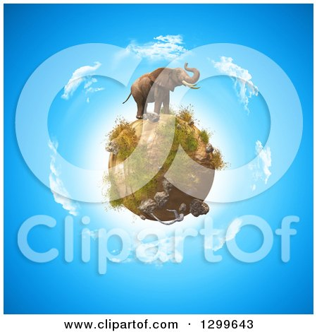 Clipart of a 3d Elephant on Top of a Rocky Globe over Earth - Royalty Free Illustration by KJ Pargeter
