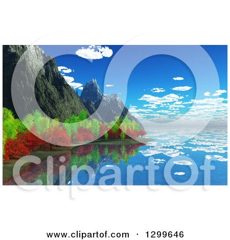 3d Coastline with Rocky Cliffs and Autumn Trees Reflecting Posters, Art Prints