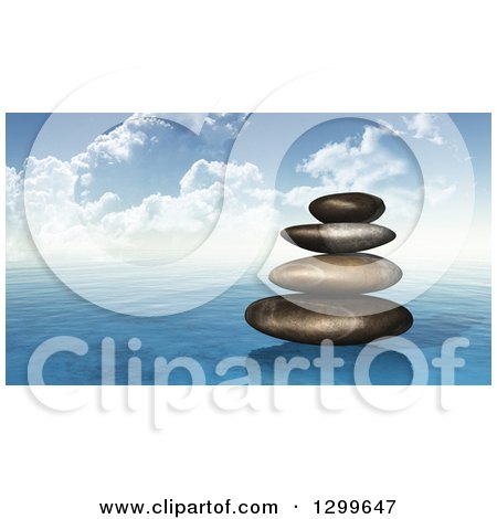 Clipart of a Stack of 3d Stones on the Ocean - Royalty Free Illustration by KJ Pargeter