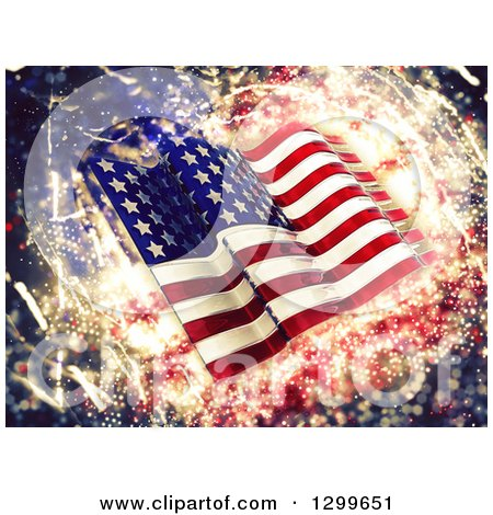 Clipart of a 3d Glass American Flag over Sparkles - Royalty Free Illustration by KJ Pargeter