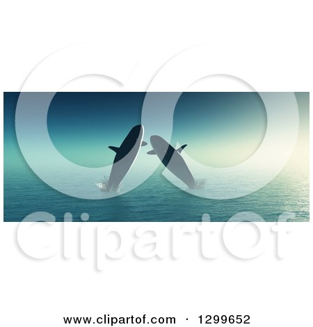 Clipart of 3d Whales Jumping at Sea - Royalty Free Illustration by KJ Pargeter