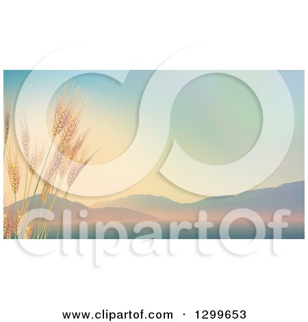 Clipart of 3d Stalks of Wheat Against a Valley with Sunrise Tones - Royalty Free Illustration by KJ Pargeter