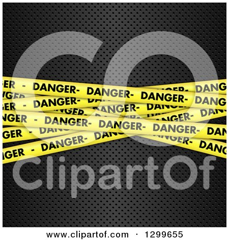 Clipart of a Background of 3d Diagonal Yellow Danger Tapes on Perforated Metal - Royalty Free Vector Illustration by KJ Pargeter
