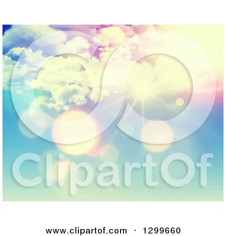 Clipart of a Pink and Blue Sunshine and Flares Sky Background - Royalty Free Illustration by KJ Pargeter