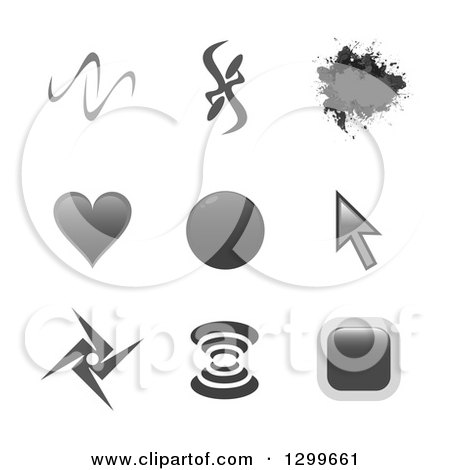 Clipart of Grayscale Grunge, Abstract, Cursor, Heart and Signal Website Icons - Royalty Free Vector Illustration by Arena Creative