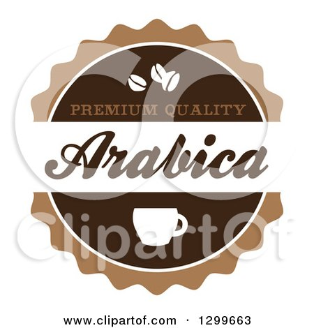 Clipart of a Retro Brown and White Arabica Coffee Label - Royalty Free Vector Illustration by Arena Creative