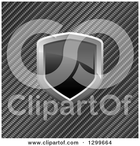 Clipart of a 3d Shiny Black and Chrome Shield over Diagonal Carbon Fiber - Royalty Free Vector Illustration by Arena Creative
