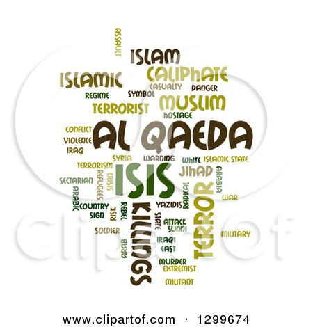 Clipart of a Green ISIS and Al Qaeda Word Collage over White - Royalty Free Illustration by oboy