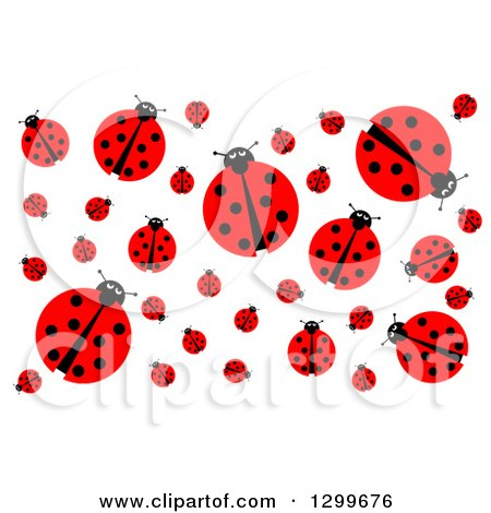 Clipart of a Background of a Ladybugs on White - Royalty Free Illustration by oboy