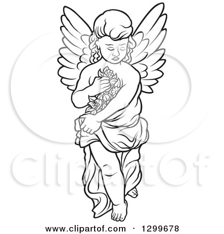 Clipart of a Black and White Angel Carrying Flowers - Royalty Free Vector Illustration by dero