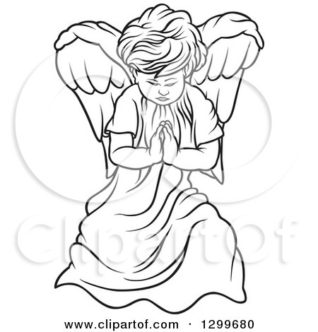 Clipart of a Black and White Angel Praying - Royalty Free Vector Illustration by dero