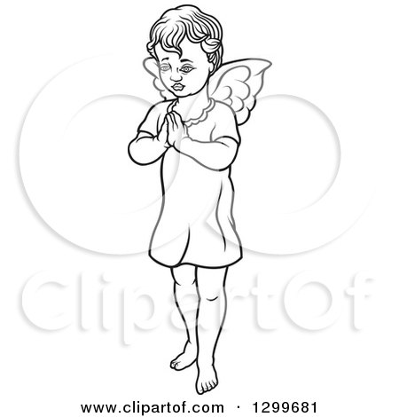 Clipart of a Black and White Angel Standing with Prayer Hands - Royalty Free Vector Illustration by dero