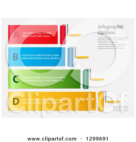 Clipart of Colorful Infographic Paint Rollers with Lines and Sample Text, on White - Royalty Free Vector Illustration by elaineitalia