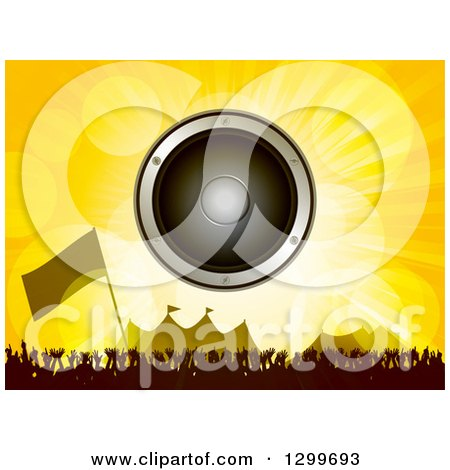 Clipart of a Music Speaker over a Silhouetted Dancing Crowd, Flag and Carnival Tents - Royalty Free Vector Illustration by elaineitalia
