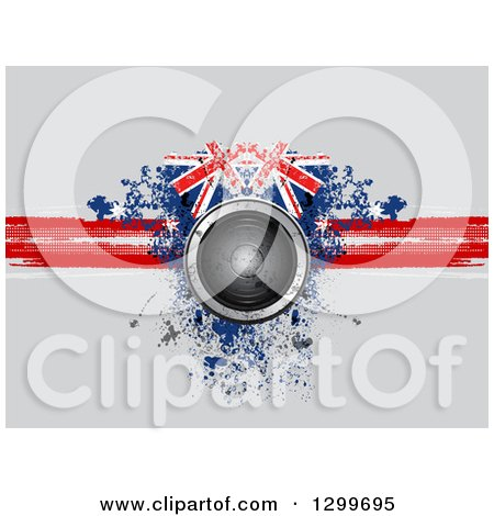 Clipart of a 3d Music Speaker over a Red Blue and White Grungy Union Jack Design on Gray - Royalty Free Vector Illustration by elaineitalia