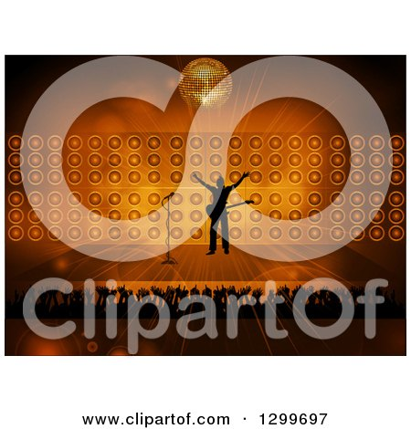 Clipart of a Silhouetted Male Rock Star Musician on Stage with Fans Against Flares, Speakers and a Disco Ball - Royalty Free Vector Illustration by elaineitalia