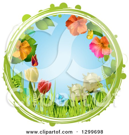 Clipart of a Grungy Green and White Circle Around Roses, Tulips, Hibiscus Flowers, Grass and Butterflies on Blue - Royalty Free Vector Illustration by elaineitalia