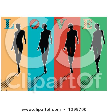 Clipart of a Retro Silhouetted Women Walking on Colorful Panels, with Halftone Shadows and LOVE Text - Royalty Free Vector Illustration by pauloribau