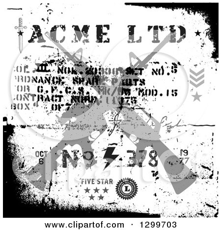 Clipart of a Silhouetted Crossed Assault Rifles with Text on Black and White Grunge - Royalty Free Vector Illustration by BestVector