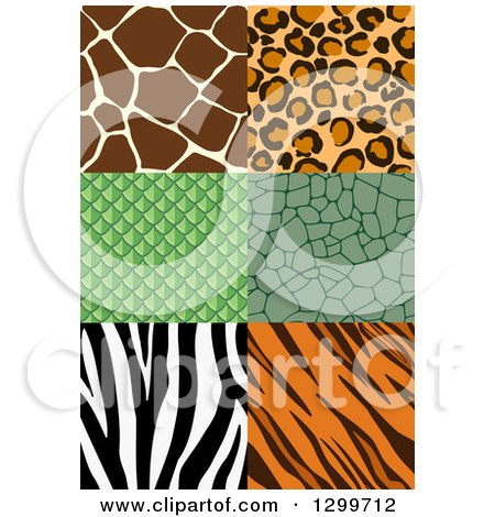 Clipart of Seamless Animal Print Designs - Royalty Free Vector Illustration by AtStockIllustration
