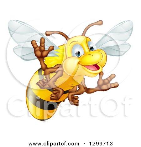 Clipart of a Cartoon Happy Bee Waving - Royalty Free Vector Illustration by AtStockIllustration