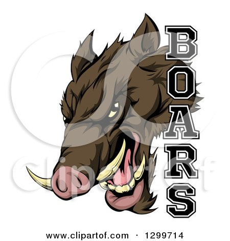 Clipart of a Fierce Brown Boar Mascot Head with Text - Royalty Free Vector Illustration by AtStockIllustration