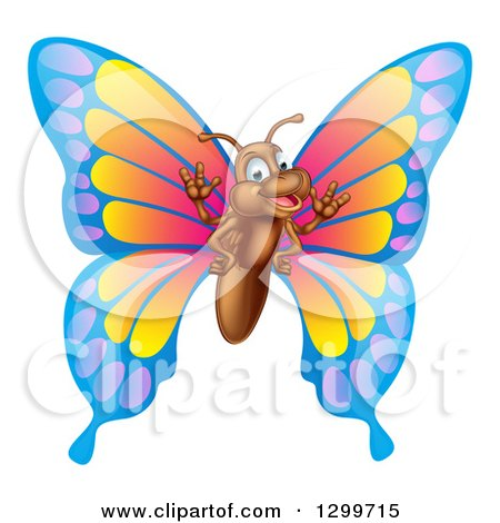 Clipart of a Cartoon Happy Butterfly Waving - Royalty Free Vector Illustration by AtStockIllustration