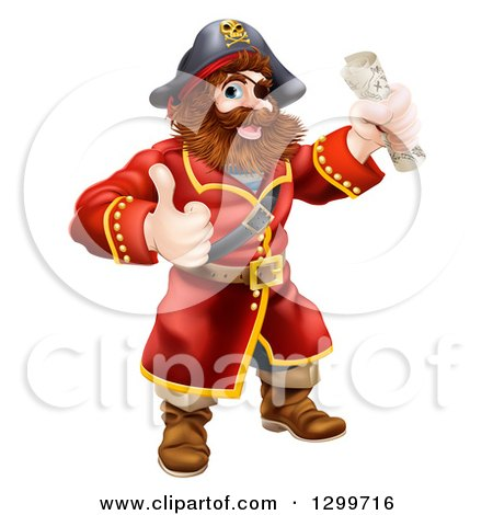 Clipart of a Happy Male Pirate Captain Holding a Treasure Map and Giving a Thumb up - Royalty Free Vector Illustration by AtStockIllustration