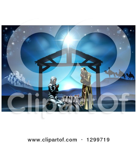 Clipart of a Nativity Scene with the Animals and Wise Men in the Distance and the City of Bethlehem, Mary and Joseph Praying in the Manger - Royalty Free Vector Illustration by AtStockIllustration