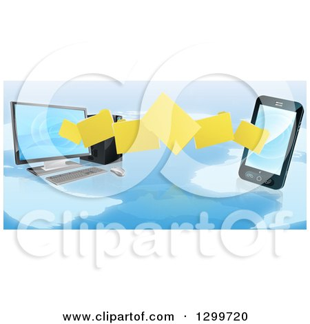 Clipart of 3d Folder File Transfer from a Desktop Computer to a Smart Cell Phone over a Map - Royalty Free Vector Illustration by AtStockIllustration