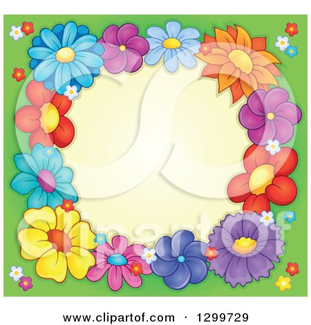 Clipart Of A Border Made Of Colorful Flowers Around Yellow On Green 2 Royalty Free Vector Illustration