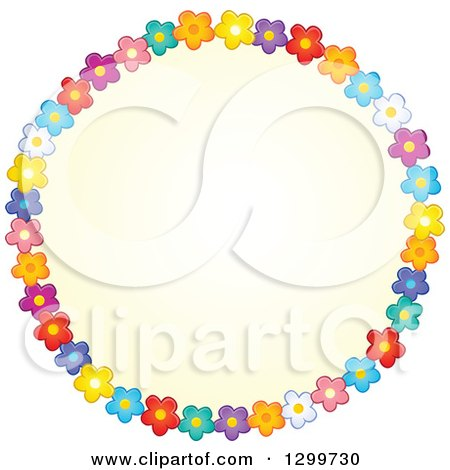 Clipart Of A Round Frame Made Of Colorful Flowers Around Yellow Royalty Free Vector Illustration