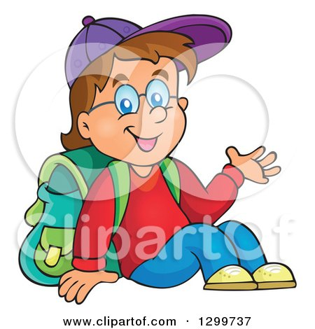 Clipart of a Cartoon Brunette White School Boy Sitting and Presenting - Royalty Free Vector Illustration by visekart