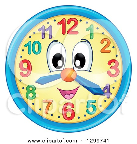 Clipart of a Happy Wall Clock Character - Royalty Free Vector Illustration by visekart