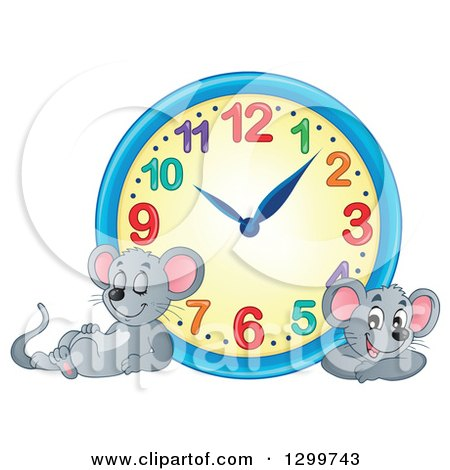 Clipart of a Wall Clock and Resting Mice - Royalty Free Vector Illustration by visekart